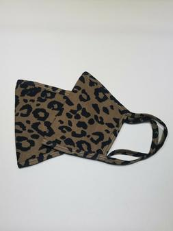 2 Pack Of Leopard Print Cotton Face Mask Hand or Machine Was