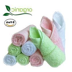 Baby Washcloths Natural Organic Bamboo Baby Face Towels - Re