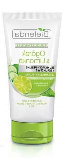 FACE WASH Cucumber&Lime 3in1 GEL+SCRUB+SERUM for Combination