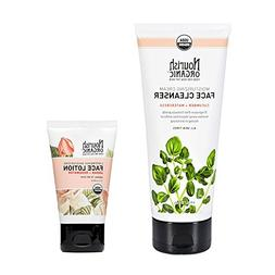 Nourish Organic Facial Cleanser and Facial Lotion Bundle wit