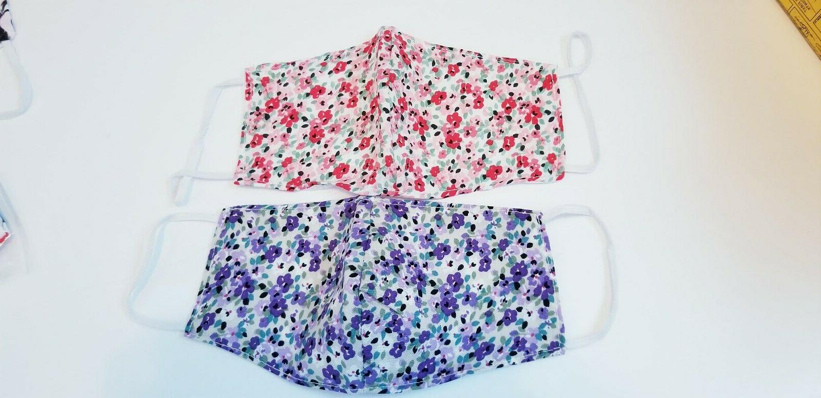 2 pack HANDMADE FASHION FACE COVER MASK garden floral patter