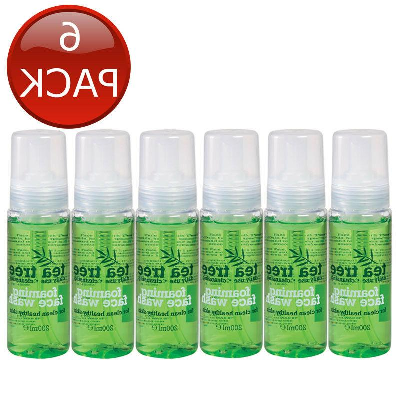 6 x TEA TREE FOAMING FACE WASH CLEAN HEALTHY SKIN DAILY USE