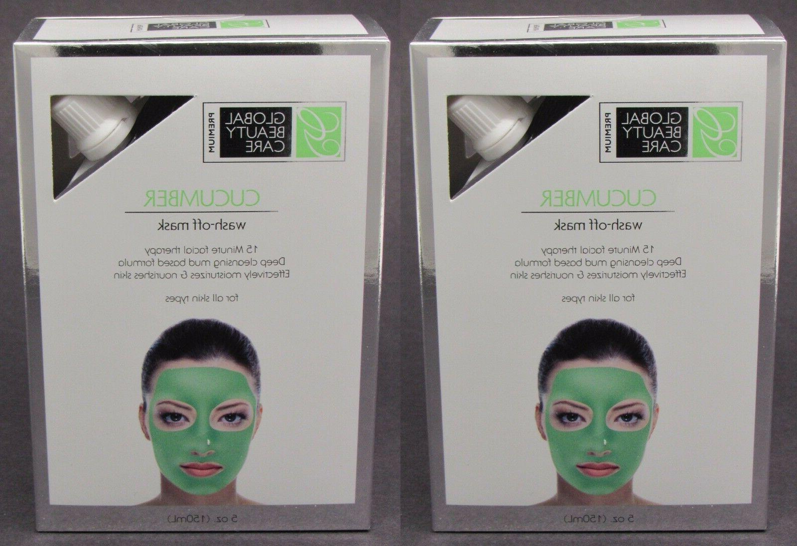 NEW 2-PACK x 5oz Global Beauty Care CUCUMBER Wash Off Mask M