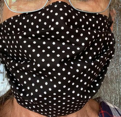 Cotton FACE MASK. Cats/Neon Grn. Reverses Black/White Wash. Pleated